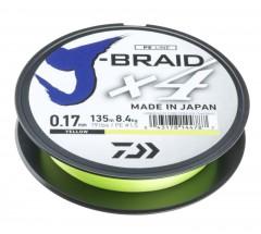 DAIWA J-BRAID X4E 0,25MM-135M SÁRGA FONOTT ZSINÓROK