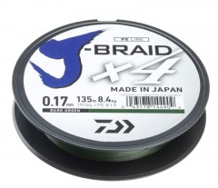 DAIWA J-BRAID X4E 0,33MM-135M SÖTÉTZÖLD FONOTT ZSINÓROK