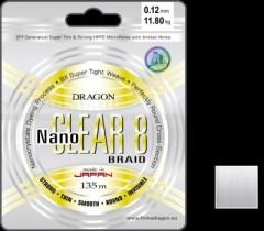 ZSINÓR DRAGON NANO CLEAR 8 SZÍN: INVISBLE 135m-0,18mm FONOTT ZSINÓROK